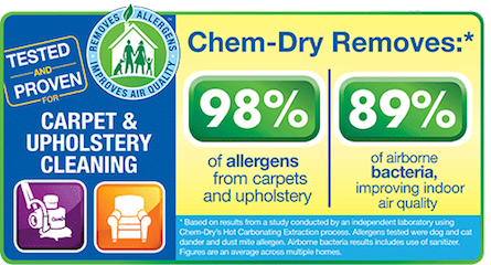 Metro Chem-Dry removes 98% of allergens and 89% of airborne bacteria, improving indoor air quality