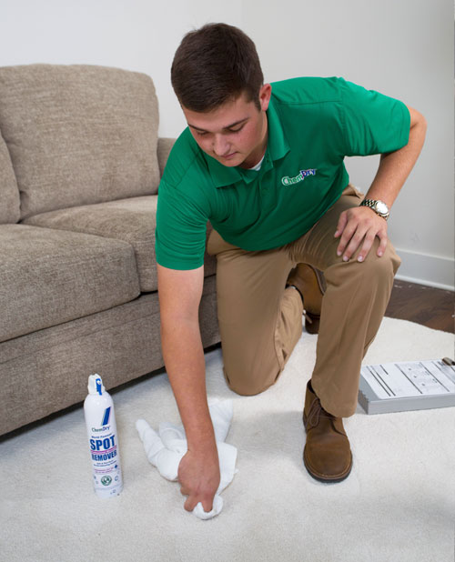 Metro Chem-Dry's technician helps remove stain in Newtown Square
